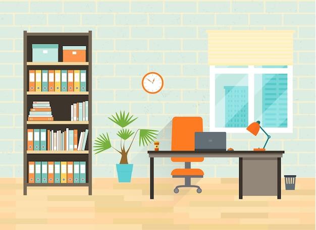 Lieu de travail à la maison ou au bureau avec table, bibliothèque, fenêtre. illustration vectorielle