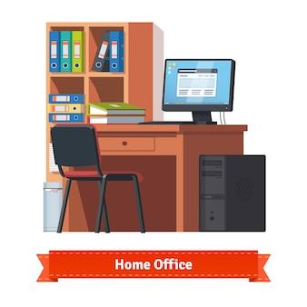 Lieu de travail à la maison confortable avec ordinateur de bureau