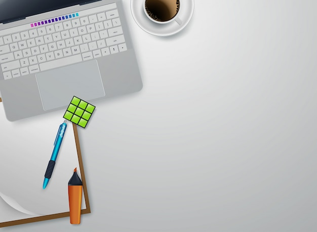 Lieu de travail à la maison avec des périphériques flat lay vector. tasse blanche de café près de tablette et stylo. illustration de la vue de dessus de copyspace