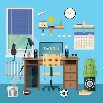 Lieu de travail moderne dans la chambre