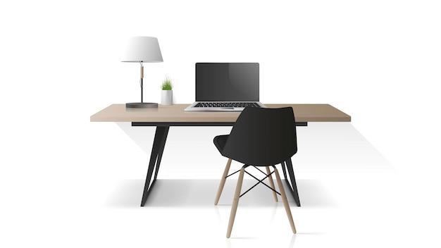 Lieu de travail moderne isolé sur fond blanc. table de bureau en bois, ordinateur portable, fauteuil, lampe de table. élément pour la conception de bureaux. réaliste