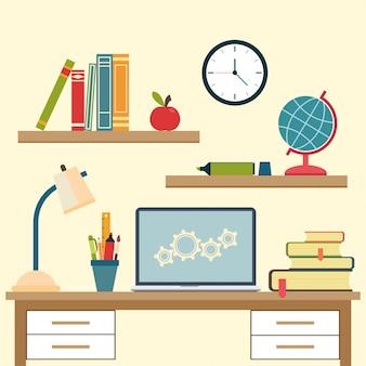 Lieu de travail avec des objets de l'école secondaire