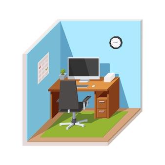 Lieu de travail avec un ordinateur