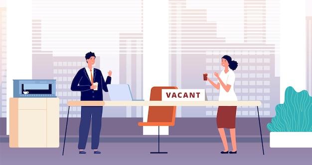 Lieu de travail vacant. embauche des employés requis dans le bureau. recrutement de managers, équipe commerciale à la recherche de collègue. travail de femme homme de dessin animé avec illustration vectorielle de café, recrutement d'employés