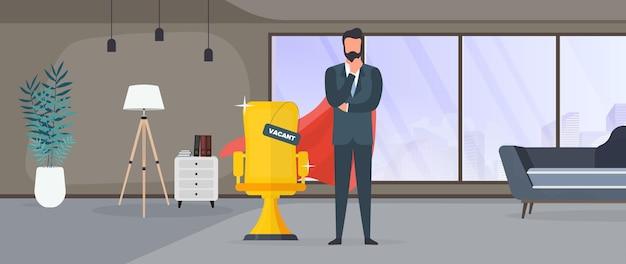 Lieu vacant. homme d'affaires avec une cape de super-héros rouge. chaise de bureau en or. le concept de poste vacant, de recherche et de recrutement de personnel, rh. vecteur.