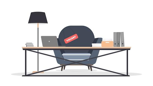 Lieu vacant. recherchez un leader. table de style loft.