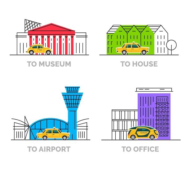 Lieux de destination de style dessin animé plat avec des voitures de taxi jaunes