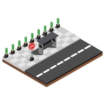 Lieux de restauration rapide isométrique, illustration vectorielle