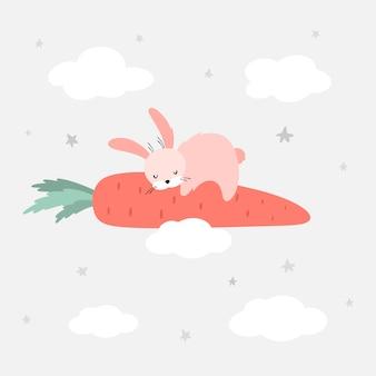 Lièvre endormi sur une carotte