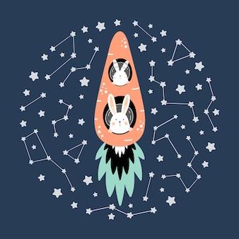 Lièvres mignons sur une fusée de carotte dans l'espace