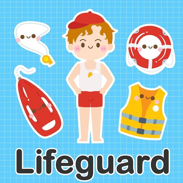 Lifeguard - ensemble de personnage de dessin animé mignon kawaii occupation