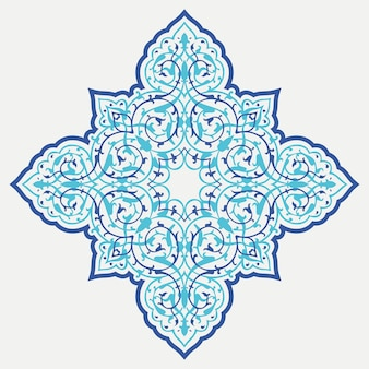 Ligature ornementale orientale. étoile de l'islam sur fond blanc