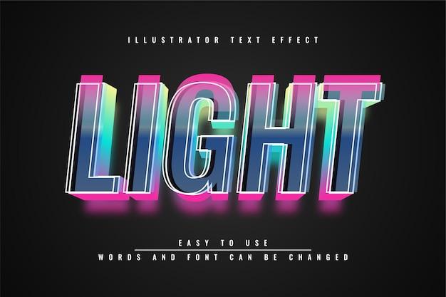 Light - conception de modèle d'effet texet 3d modifiable illustrator
