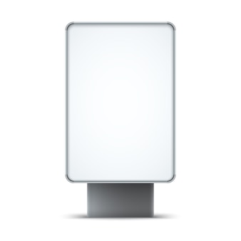 Lightbox extérieur vide isolé sur fond blanc.