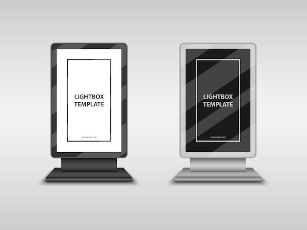 Lightbox, Panneau D'affichage Au Format Ville, Modèle De Maquette De Signe De Totem Vecteur Premium