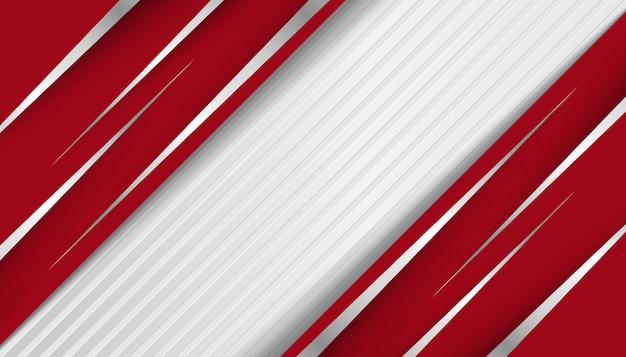 Ligne abstraite argent clair avec fond de couches de chevauchement rouge