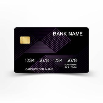 Ligne abstraite de carte de crédit de couleur noire et violette.