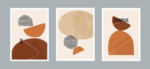 Ligne abstraite et fond d'arts de points avec différentes formes pour carte postale de décoration murale