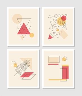 La ligne abstraite moderne laisse dans les lignes et l'affiche abstraite avec un dessin au trait minimal du visage