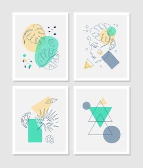 La ligne abstraite moderne laisse dans les lignes et l'arrière-plan des arts avec différentes formes pour la décoration murale