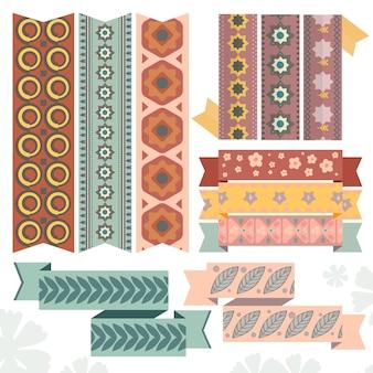 Ligne abstraite pop art sur la collection de rubans