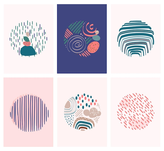 Ligne abstraite pop art collection style bohème avec des éléments arc-en-ciel