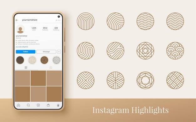 Ligne abstraite en surbrillance instagram