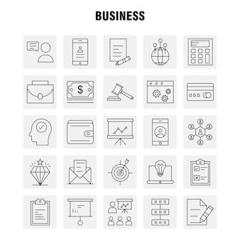 Ligne d'affaires jeu d'icônes