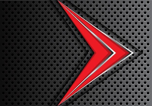 Ligne d'argent rouge flèche abstraite sur la conception de maille cercle noir