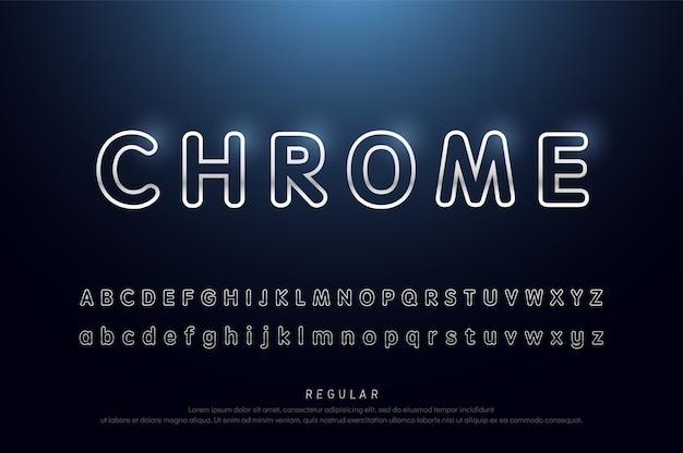 Ligne arrondie alphabet argenté et police effet moderne