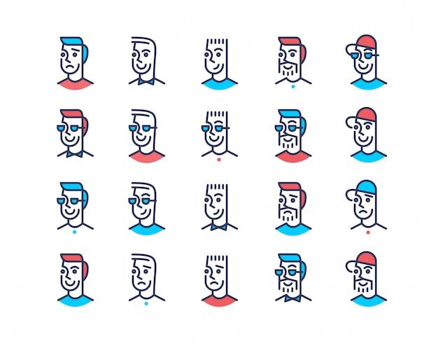 Ligne art design hommes jeu d'icônes