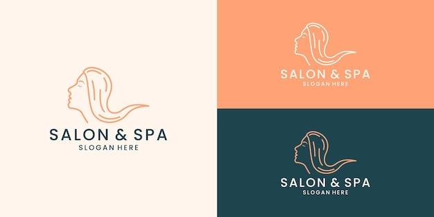 Ligne art salon spa logo design vecteur
