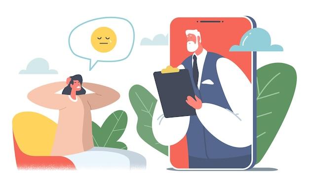 Ligne d'assistance en psychothérapie, consultation en ligne. docteur psychologue caractère écoute patient anxieux sur smartphone écran conversation à distance résoudre des problèmes d'esprit. illustration vectorielle de gens de dessin animé