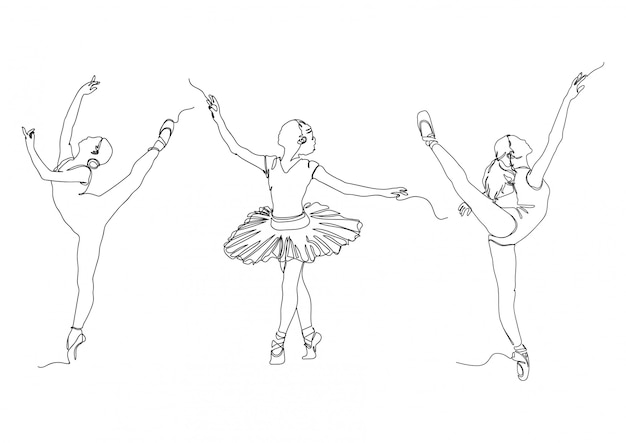 Une ligne ballerine pose ensemble logos illustration vectorielle