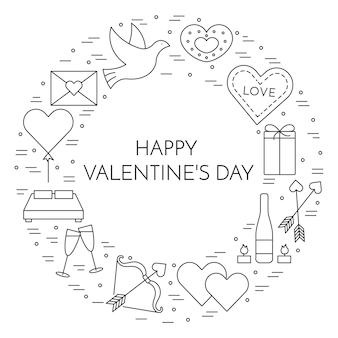 Ligne bannière icônes minces pour saint valentin et thème de la date.