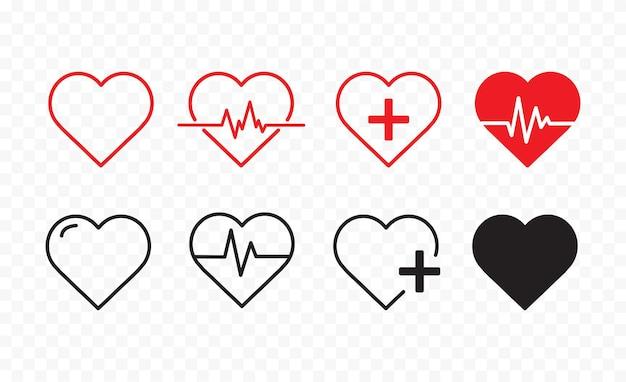 Ligne de battement de coeur rouge sur fond transparent