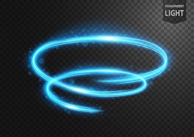 Ligne bleue abstraite de la lumière avec des étincelles bleues