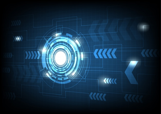 Ligne de cercle et de l'électricité de vecteur avec fond bleu de cycle électronique
