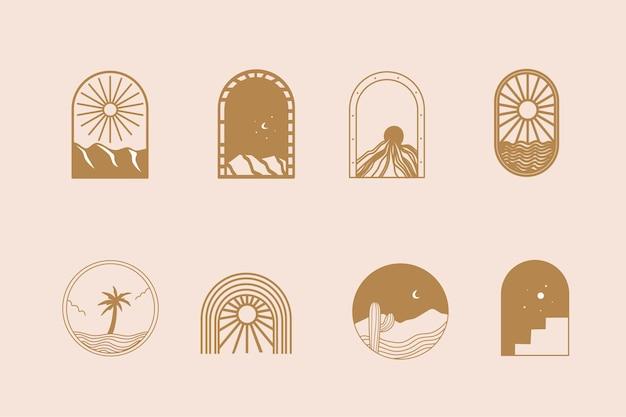 Ligne de collection design bohème avec montagne du soleil