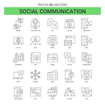 Ligne de communication sociale icon set - 25 style de contour en pointillé