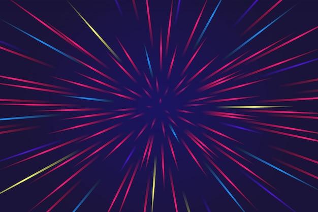 Ligne conique abstraite avec arrière-plan coloré style étoile