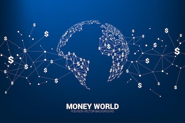Ligne connecter dollar monnaie argent forme le globe terrestre.