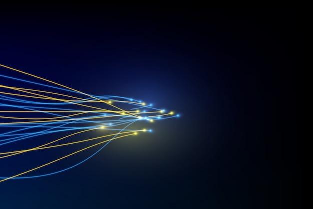 Ligne de connexion sur fond de concept de télécommunication de réseautage fibre optique
