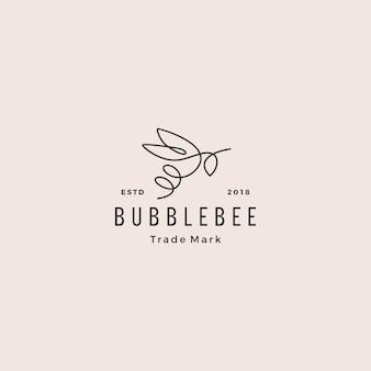Ligne continue abeille logo hipster rétro vintage