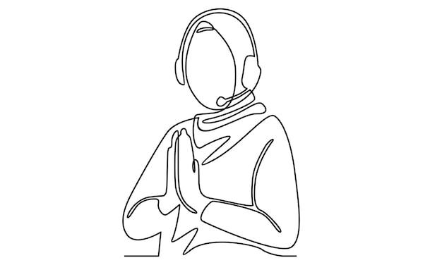 Ligne continue de dame arabe avec illustration de casque