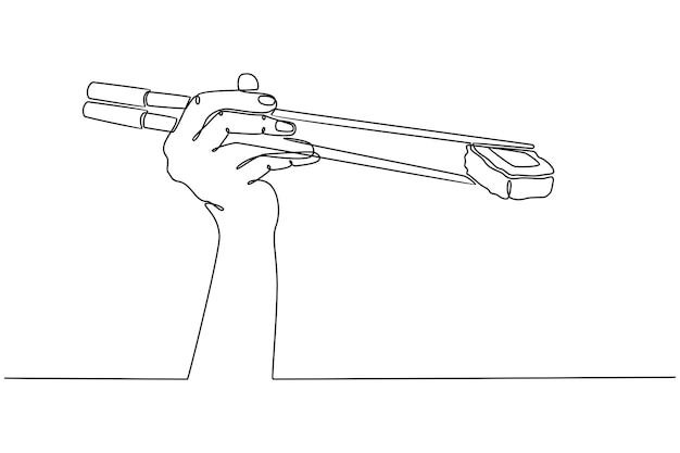 Ligne continue dessinée à la main avec illustration vectorielle de baguettes de sushi