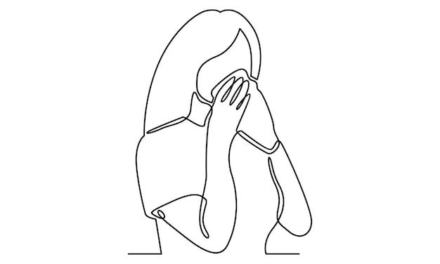 Ligne continue de femme avec illustration de mouchoir