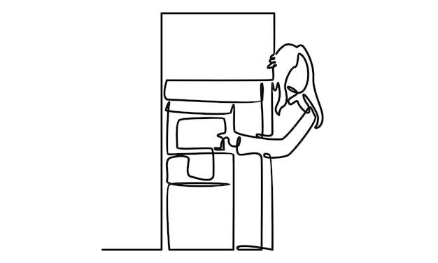 Ligne continue de femme montrant l'illustration de la machine à sous