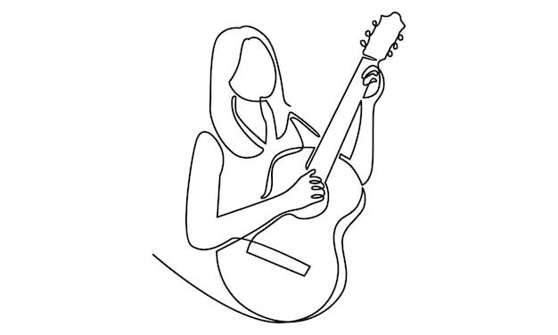 Ligne continue de femme tenant une illustration de guitare acoustique