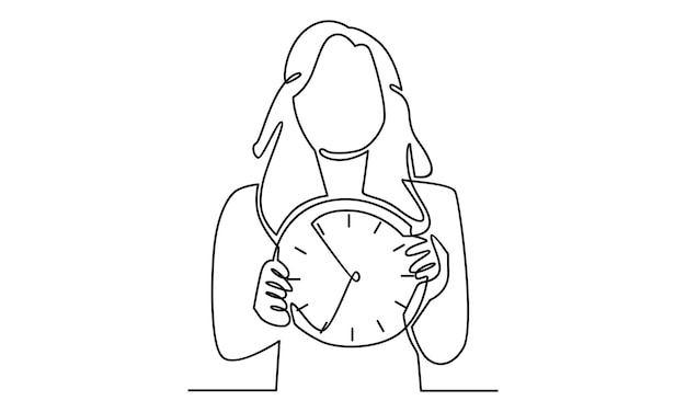 Ligne continue de femme tenant l'illustration de l'horloge